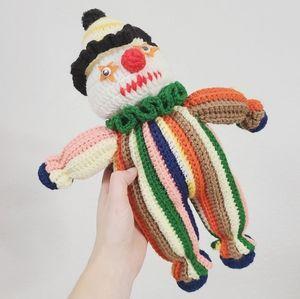 Vintage Handmade Knitted Retro Striped Clown Doll